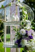 Beautiful wedding decoration. Birdcage with artificial white bir